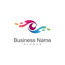 water splash eye logo, creative eye logo