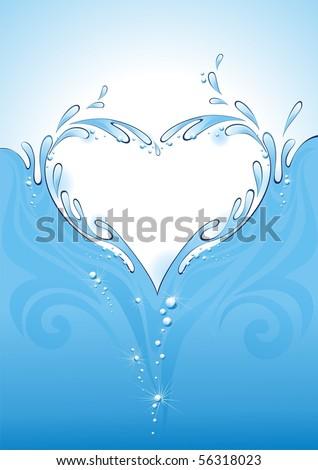 Water splash in the form of heart. (vector illustration) - stock vector