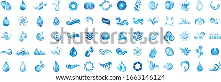 Water Splash Vector And Drop Logo Set - Isolated On White Background. Vector Collection Of Flat Water Splash and Drop Logo. Icons For Droplet, Wave, Rain, Raindrop, Company Logo And Bubble Design Сток-фото ©