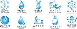 Water Splash Vector And Drop Set - Isolated On White. Abstract Vector Collection Of Flat Water Splash and Drop Logo. Icons For Droplet, Water Wave, Rain, Raindrop, Company Logo And Bubble Design