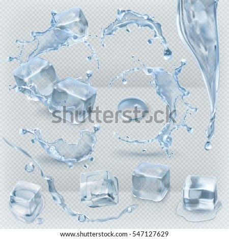 Shutterstock Water splashing and ice cube with transparency, 3d vector set