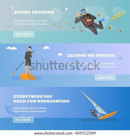 Water sport concept. Horizontal vector banner. Flat cartoon illustration. Diving, wind surfing.