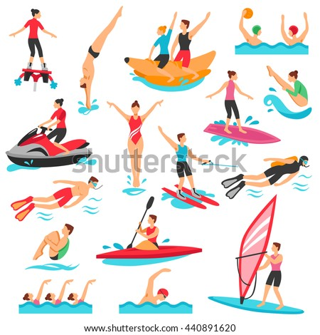 water sport flat decorative