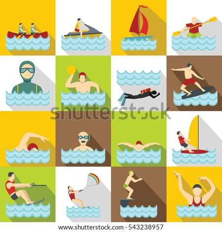 Water sport icons set. Flat illustration of 16 water sport vector icons for web