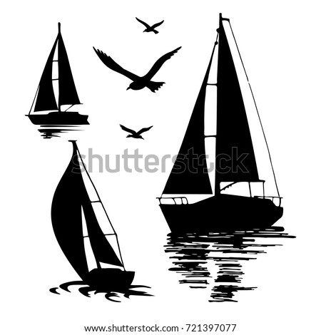 Water sport. Sea yachts. Extreme lifestyle. Silhouette of a sailing boat on a white background. The seagulls. Set of vector illustrations.