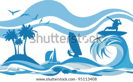 water sports and recreation - kite surfing, water skiing, jet - on the waves