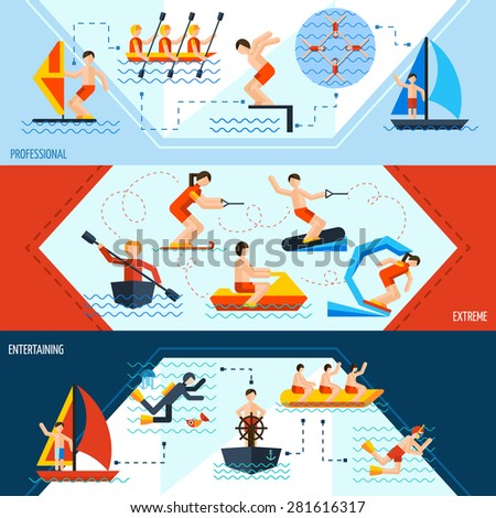 Water sports horizontal banners set with professional extreme and entertaining elements isolated vector illustration