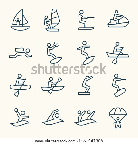 Water sports line icons