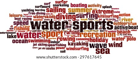 Water sports word cloud concept. Vector illustration