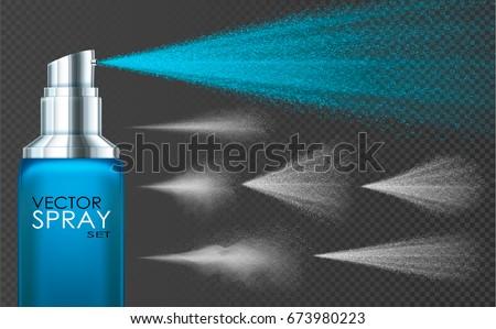 water spray  white smoke  dust
