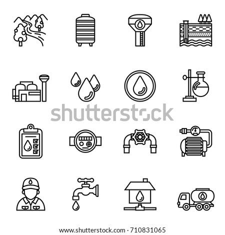 Water supply icon set. Line Style stock vector.