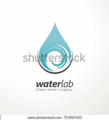 Water supply logo design template with water drop and swirl design element in negative space. Aqua symbol.