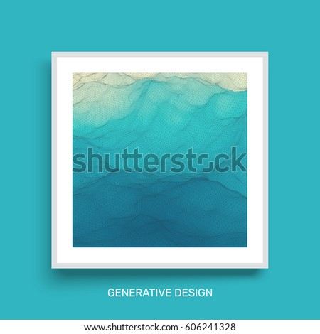 Water Surface. Wavy Grid Background. Mosaic. Textbook, booklet or notebook mockup.  Cover design template. Vector Illustration.