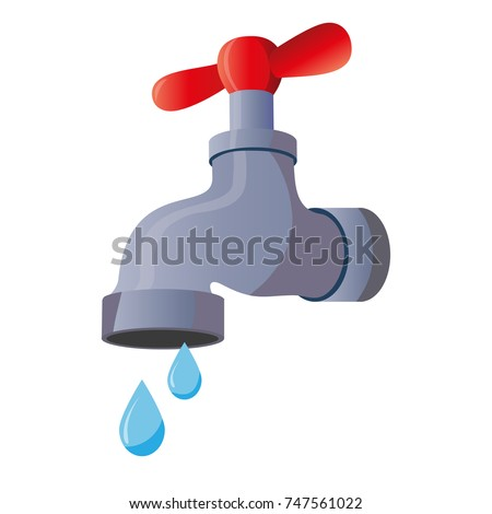 Water tap with falling drop. Isolated on white background. Classical old valve. Photo stock ©