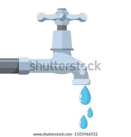 Water tap with falling drop. Vector illustration in flat style