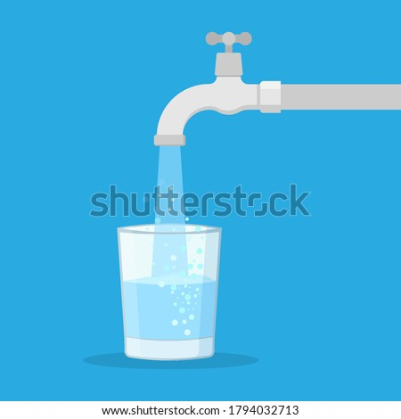 Water tap with glass. Filling cup beverage.  Vector illustration. Eps 10. Foto stock ©