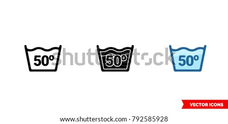 Water temperature 50C icon of 3 types: color, black and white, outline. Isolated vector sign symbol.
