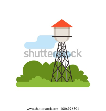 Water tower, farm building, countryside life object, rural landscape vector Illustration stock photo