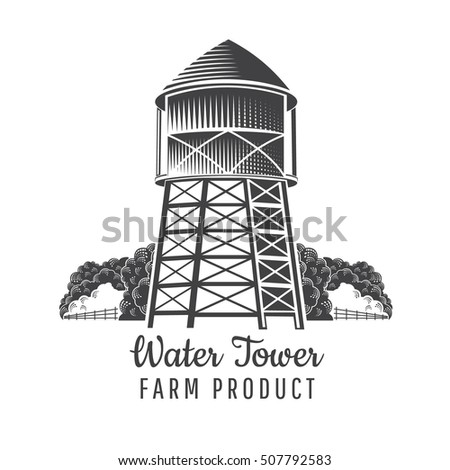water tower front view with...