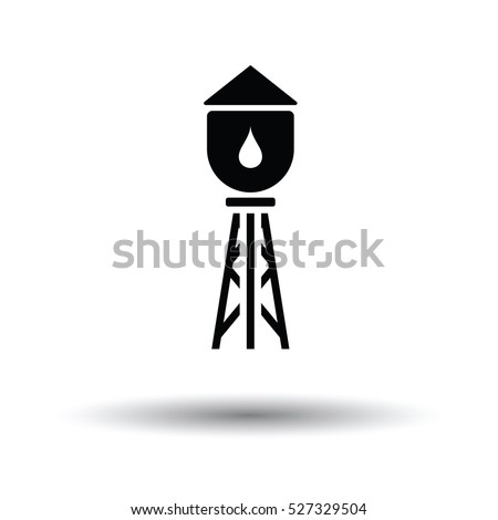 Water tower icon. White background with shadow design. Vector illustration.