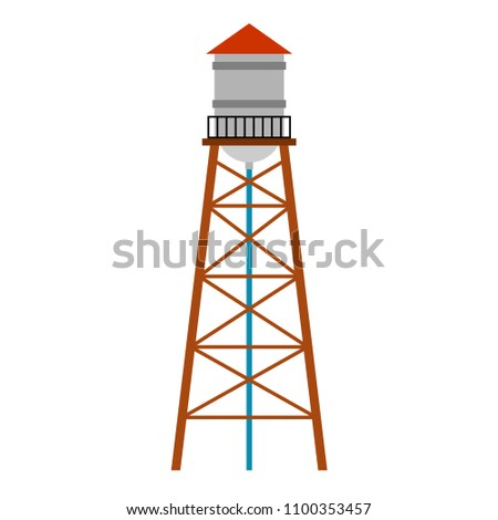 Water tower isolated. Water-bearing tower. Vector illustration