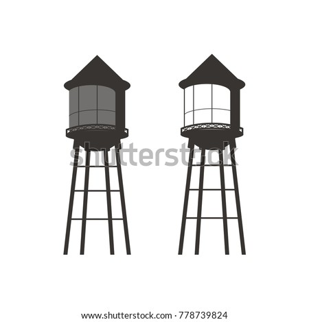 Water tower logo design template vector illustration stock photo