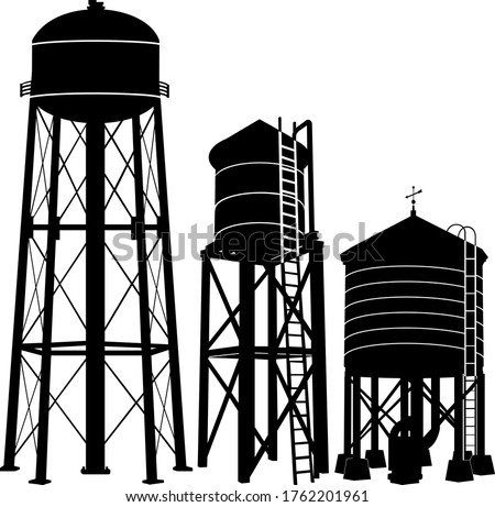 Water tower silhouette vector on white background stock photo