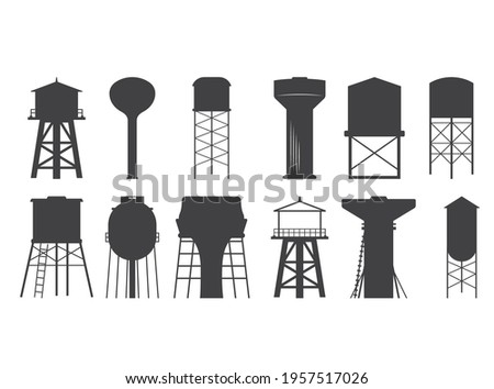 Water tower vector, Water tower Silhouette, Water Tower Cut File, Water tower cutting files, printable design