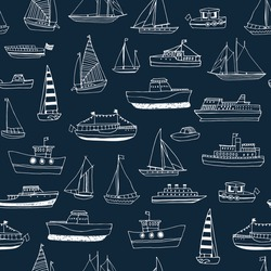 Water transport: boat, ship, yacht vector hand drawn line doodle seamless pattern
