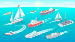 Water transport collection, floating water transport with flag and lifebuoy, set of vessels leaving traces, sun and clouds on sky vector illustration