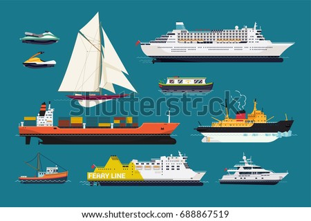 Water transport. Set of flat design vector ships and boats featuring cruise liner, sailing yacht, motor yacht, scooters, fishing boat, icebreaker, ferry, cargo ship, etc.