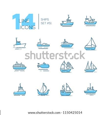 Water transport - thin line design icons set. Tugboat, dredging vessel, sailing yacht, self-propelled barge, patrol boat, ferry, submarine, brigantine, schooner, drakkar, pirate, survey, military ship