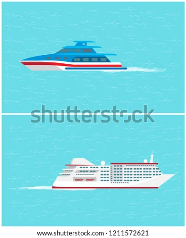 Water transport yacht and cruise liner set vector. transportation cozy and comfortable for people to travel with. Ship for passengers and voyagers