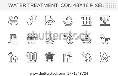 Water treatment plant and water filter and wastewater or waste water vector icon set. Purification system include. That removes sewage and sludge to improves the quality water for facility and supply.