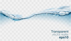 Water vector wave transparent surface with bubbles of air