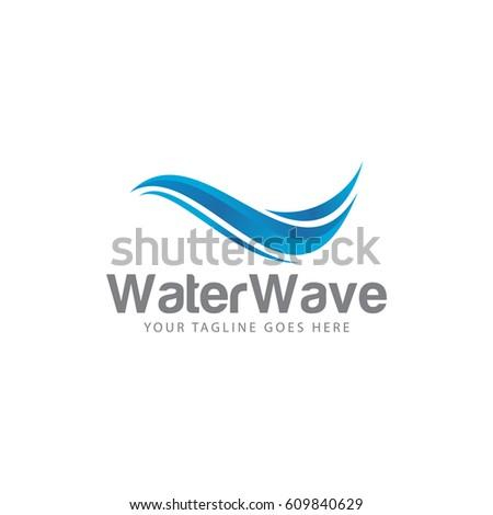 water wave concept logo icon vector termplate