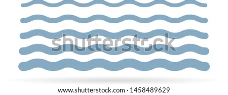 Water wave icon. Blue water design on white background. Vector illustration.