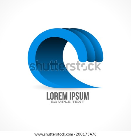 water wave icon design in vector format
