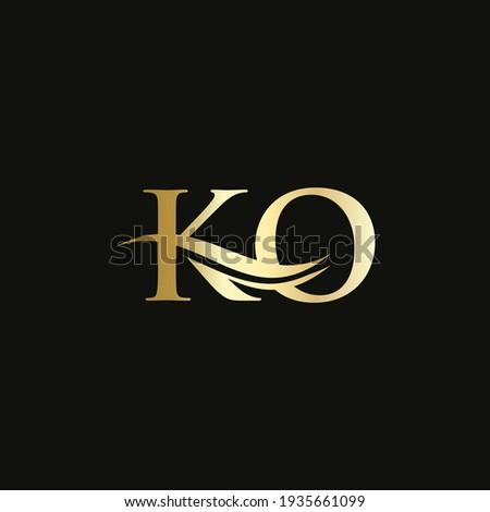 Water Wave KO Logo Vector. Swoosh Letter KO Logo Design for business and company identity Zdjęcia stock ©
