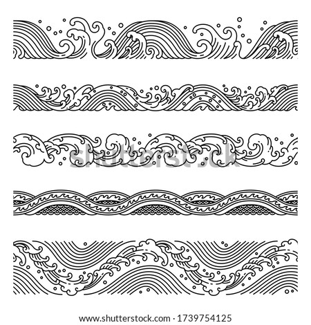 Water wave line art seamless patterns vector. Border frame endless isolated collection for decoration.