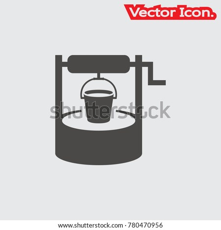 Water well icon isolated sign symbol and flat style for app, web and digital design. Vector illustration.