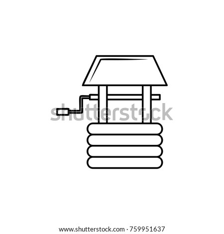 Water well line icon on white background