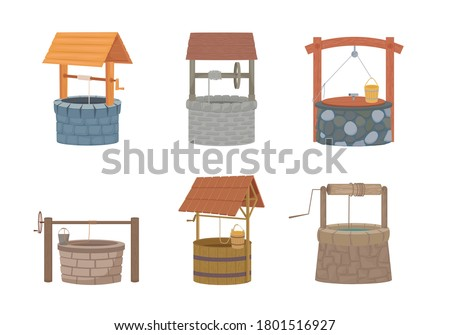 Water well set. Rustic stone and wood design with bucket and protective cover old traditional drinking water lift must have in city and village since ancient times. Cartoon vector. Stock photo ©