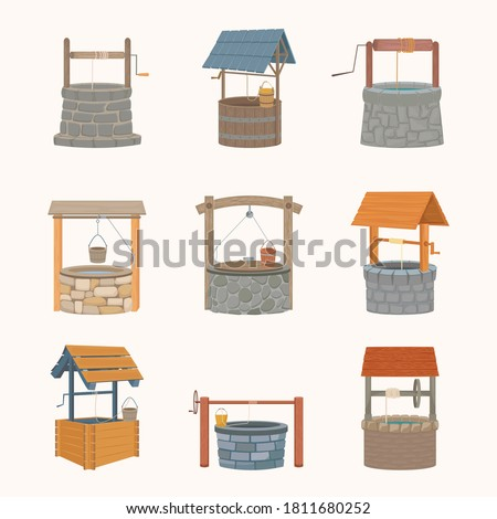 Water wells retro set. Antique stone wells faced marble coolness rustic wooden wells bucket on rope medieval with solid roof iron axle artificial deep well with source. Cartoon old vector.