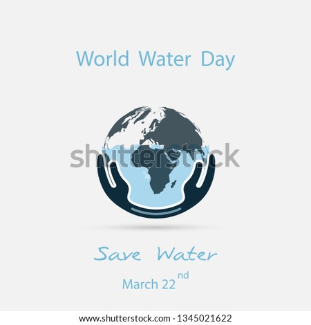 Water with world icon and human hand vector logo design template.World Water Day icon.World Water Day idea campaign for greeting card and poster.Vector illustration