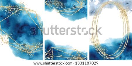 watercolor abstract aquamarine