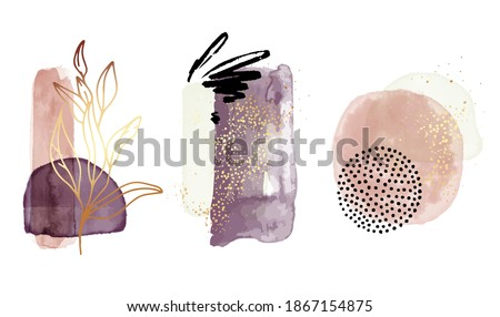 Watercolor abstract shapes, geometric transparent elements in Gold violet bohemian aesthetics. Perfect for brochures, flyers, business cards, webposters, interiors , beauty advertising