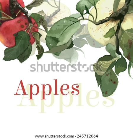 watercolor apples with leaves