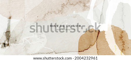 Watercolor art background vector. Wallpaper design with paint brush and gold line art. Earth tone blue, pink, ivory, beige watercolor Illustration for prints, wall art, cover and invitation cards. ストックフォト ©
