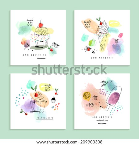 Watercolor art with cupcakes and ice cream Four creative cards Isolated on a white background Vector